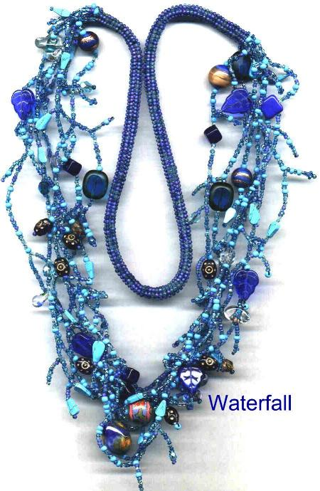 Waterfall, blue treasure necklace